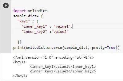dict to XML conversion
