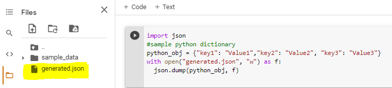 dict to json file using dump