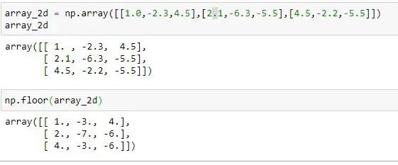 Applying floor() on 2D array