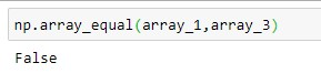 Check inequality of the array using Numpy Array Equal Method