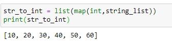 Convert String Array to Int array using python map