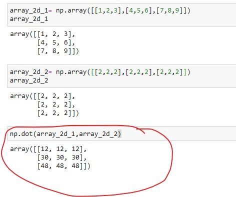 Dot product of 2D array