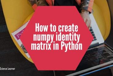 How to create numpy identity matrix in Python