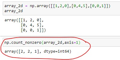 Number of Non-zero elements in 2D array for each row