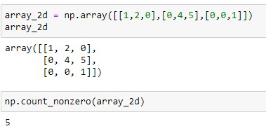 Number of Non-zero elements in 2D array