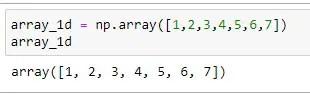 Sample 1D Numpy array
