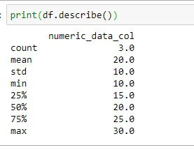 Deafult output of the numeric column after using describe method