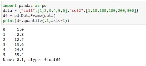 Finding Quantile value columnwise on the dataframe