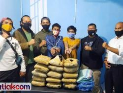 Dua Pemuda Bawa Satu Karung Goni Ganja Kering dari Sumut