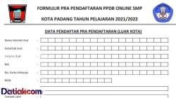 Download Formulir Prapendaftaran PPDB di Padang