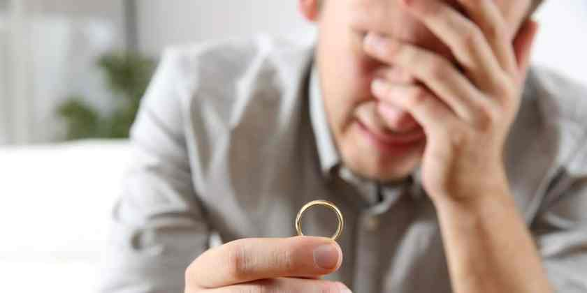 Photo of a man crying with a wedding ring