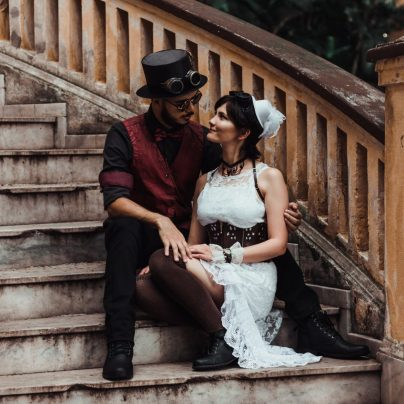 Steampunk couples costume