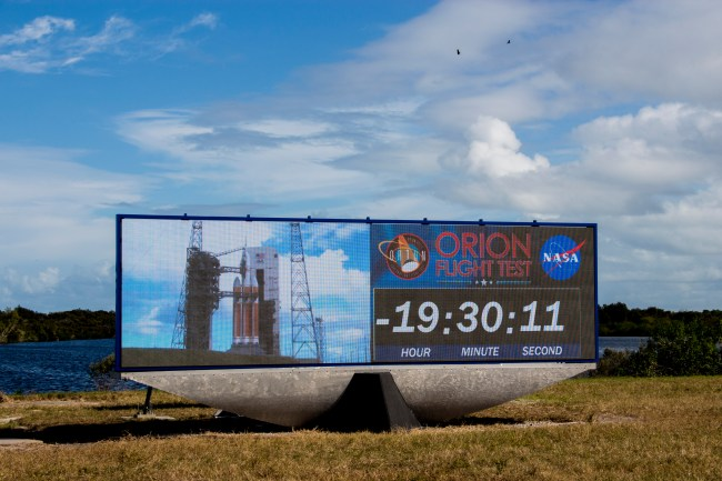 "The Apollo-era countdown clock has been replaced by a ""jumbotron"" style screen."