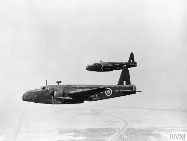 BRITISH AIRCRAFT IN ROYAL AIR FORCE SERVICE, 1939-1945: VICKERS WELLINGTON. (ME(RAF) 3703) Two Wellington Mark ICs, Z8797 ?A? and Z9095 ?D?, of No. 38 Squadron RAF, in flight over the Western Desert, probably while based at Shallufa, Egypt.  These aircraft were specially converted for use as torpedo bomber/minelayers by the Squadron. Copyright: © IWM. Original Source: http://www.iwm.org.uk/collections/item/object/205208831