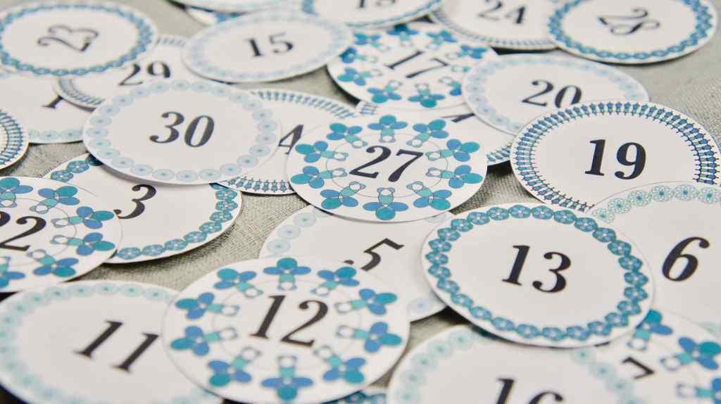 Ramadankalender mit Pappbechern Zahlen