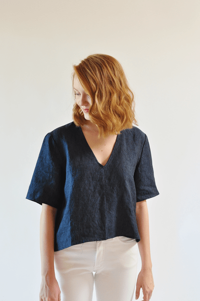 crop top, indigo linen crop top, linen crop top, fine life co