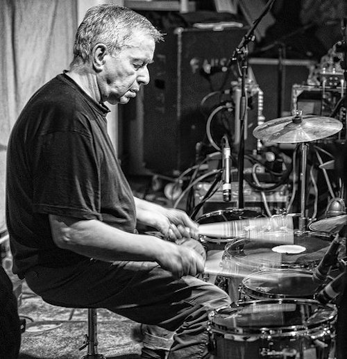 Jaki Liebezeit, in later years, drumming in London