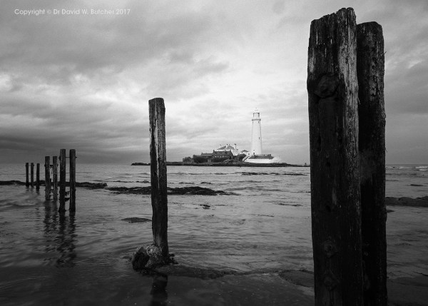St Mary's Lighthouse and Posts at High Tide, Whitley Bay, Newcastle