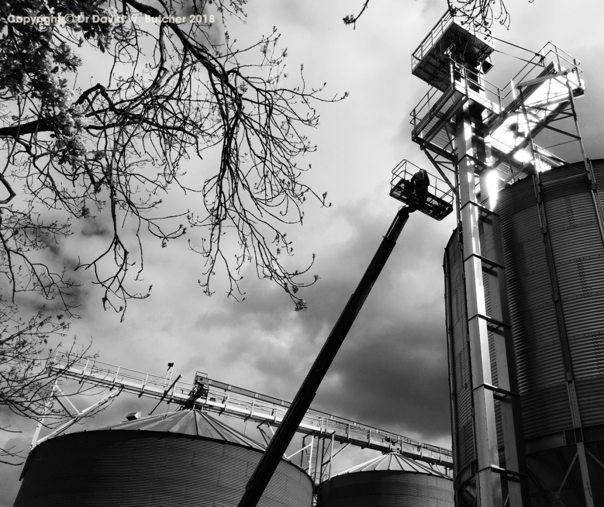 Belford Grain Silos and Cherry Picker