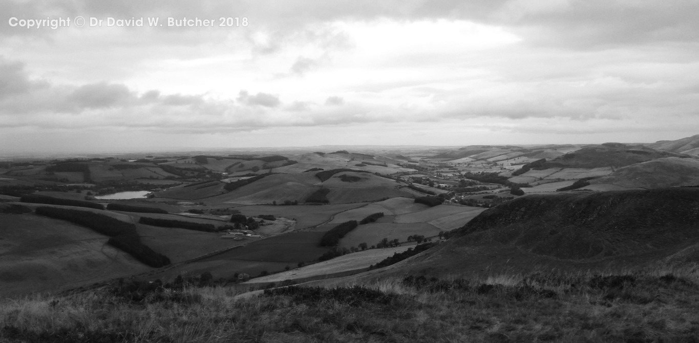 Wideopen Hill view to Kirk Yetholm