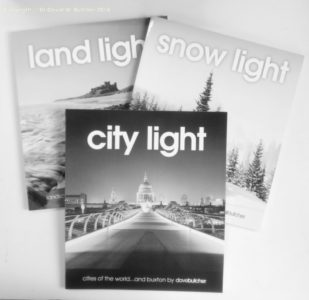 City Light, Snow Light and Land Light books of black and white photographs by Dave Butcher