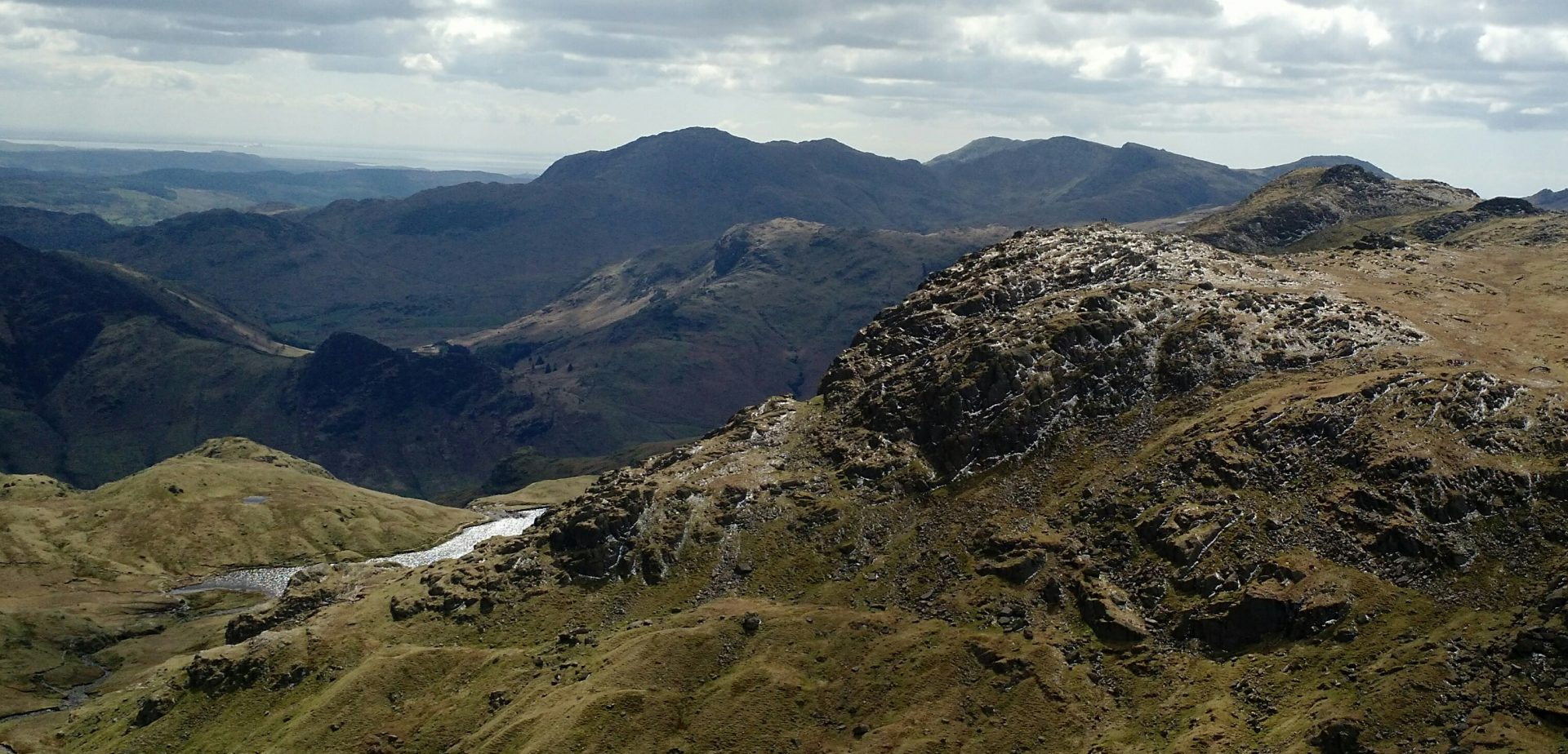 Pavey Ark with Coniston Range in Background, Langdales