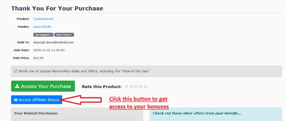 warrrior+ bonus access button
