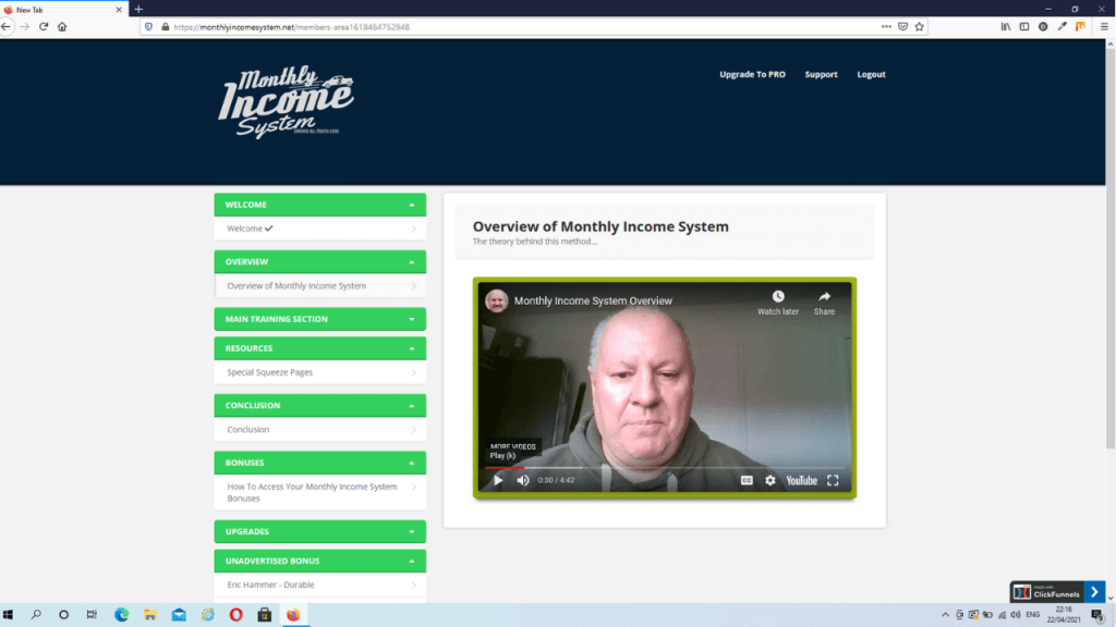 Monthly Income System Review - Members Area