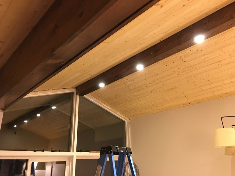 Pine Faux Beam with Recessed Lighting   dave eddy Pine Faux Beam with Recessed Lighting