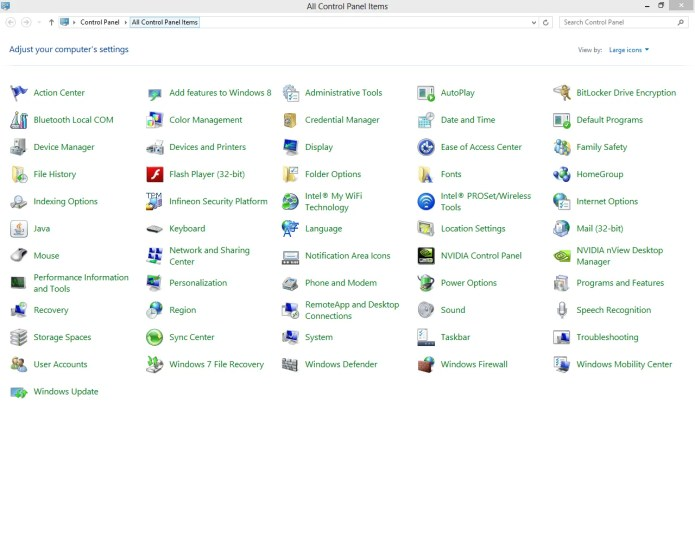 A snapshot of Windows Control Panel in Windows 8.