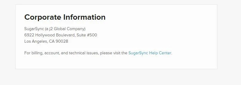 Screenshot of Contact Info on SugarSync