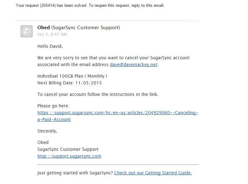 Screenshot of SugarSync Support Email