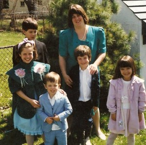 Lynn and the kids before we had to move, quickly, from a home we owned to a rental.