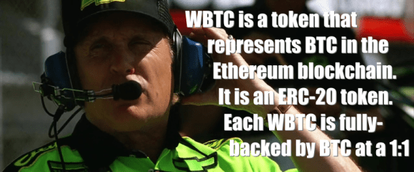 WBTC is a token that represents BTC in the Ethereum blockchain. It is an ERC-20 token. Each WBTC is fully backed by BTC at a 1:1