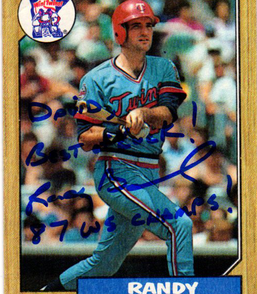 1987 Topps card 364 signed by Randy Bush with 87 WS Champs Inscription