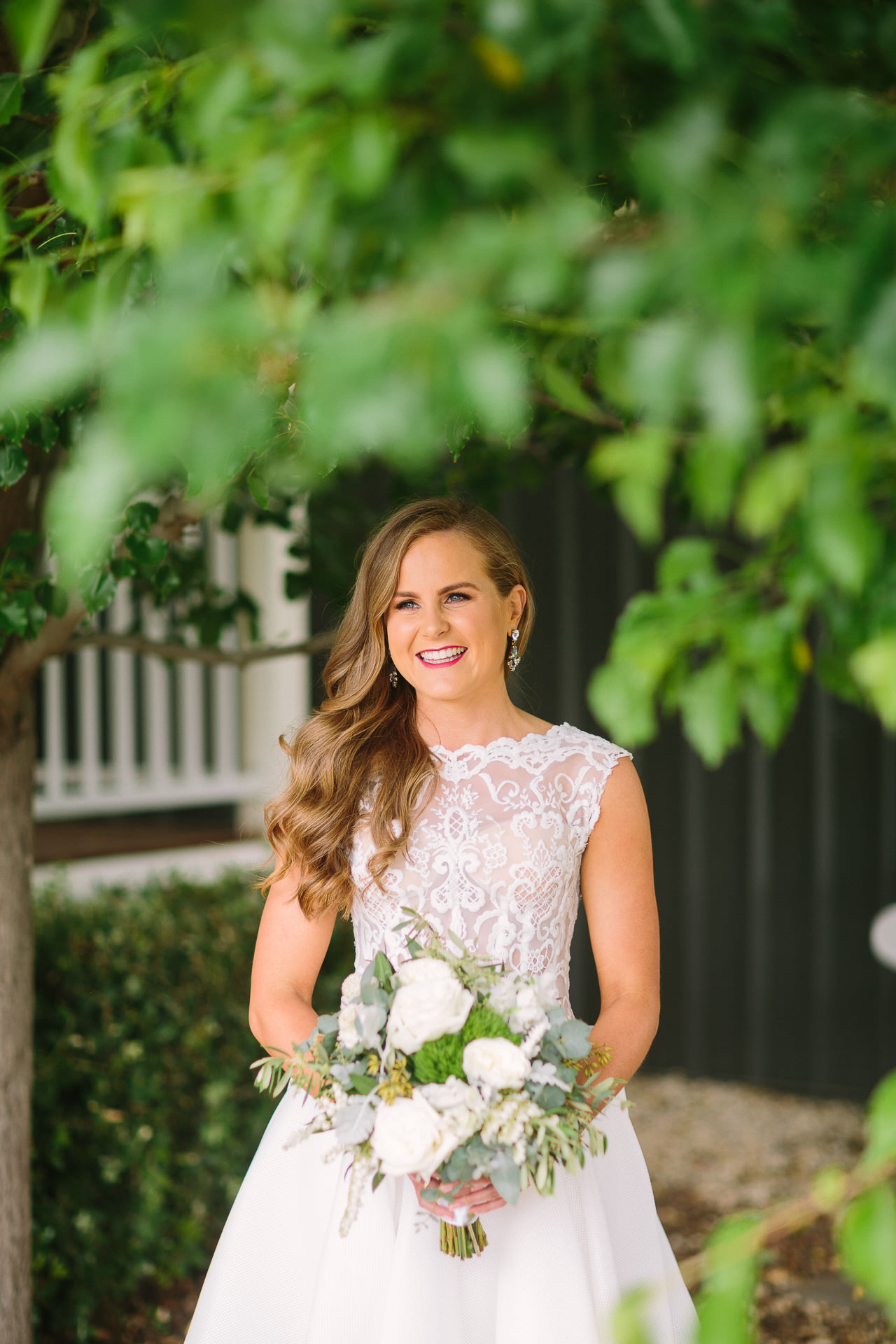 port elliot wedding bride in sleeveless dress fresh make up