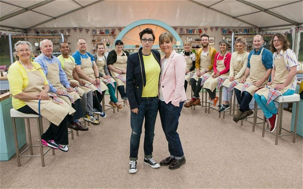Hosts Sue Perkins and Mel Giedroyc with a lovely cast of bakers.