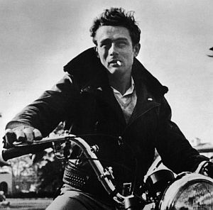 james dean smoking on a motorcycle