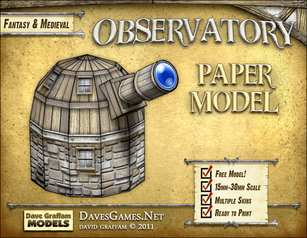 FREE Dave Graffam Miniatures Terrain Paper Model: Observatory | Your