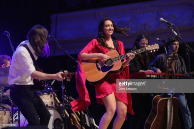 AUCKLAND, NEW ZEALAND - AUGUST 04: Liam Pratt, Milly Tabak, Guy Harrison and Chris Marshall of The Miltones perform on stage supporting Tami Neilson at Auckland Town Hall on August 4, 2018 in Auckland, New Zealand. (Photo by Dave Simpson/WireImage)