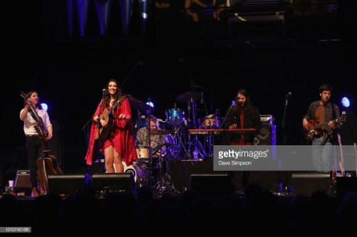 AUCKLAND, NEW ZEALAND - AUGUST 04: Liam Pratt, Milly Tabak, Tom Broome, Guy Harrison and Chris Marshall of The Miltones perform on stage supporting Tami Neilson at Auckland Town Hall on August 4, 2018 in Auckland, New Zealand. (Photo by Dave Simpson/WireImage)
