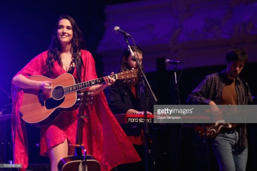 AUCKLAND, NEW ZEALAND - AUGUST 04: Milly Tabak, Guy Harrison and Chris Marshall of The Miltones perform on stage supporting Tami Neilson at Auckland Town Hall on August 4, 2018 in Auckland, New Zealand. (Photo by Dave Simpson/WireImage)