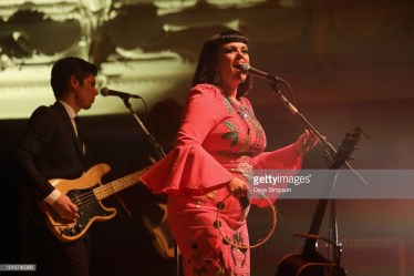 AUCKLAND, NEW ZEALAND - AUGUST 04: Mike Hall and Tami Neilson perform as part of the Sassafrass! NZ Tour at Auckland Town Hall on August 4, 2018 in Auckland, New Zealand. (Photo by Dave Simpson/WireImage)