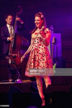 AUCKLAND, NEW ZEALAND - OCTOBER 05: Olivia Kuper Harris of the American band Scott Bradlee's Postmodern Jukebox performs on stage at Auckland Town Hall on October 5, 2018 in Auckland, New Zealand. (Photo by Dave Simpson/WireImage)