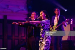 AUCKLAND, NEW ZEALAND - OCTOBER 05: Mario Jose and Brielle Von Hugel of the American band Scott Bradlee's Postmodern Jukebox perform on stage at Auckland Town Hall on October 5, 2018 in Auckland, New Zealand. (Photo by Dave Simpson/WireImage)