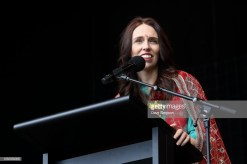 AUCKLAND, NEW ZEALAND - OCTOBER 20: New Zealand Prime Minister Jacinda Ardern welcomes the crowd during the 17th Auckland Diwali Festival on October 20, 2018 in Auckland, New Zealand. Auckland Diwali Festival is one of Auckland's biggest and most colourful cultural festival, celebrating traditional and contemporary Indian culture. (Photo by Dave Simpson/WireImage)