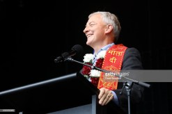 AUCKLAND, NEW ZEALAND - OCTOBER 20: Auckland Mayor Phil Goff welcomes the crowd during the 17th Auckland Diwali Festival on October 20, 2018 in Auckland, New Zealand. Auckland Diwali Festival is one of Auckland's biggest and most colourful cultural festival, celebrating traditional and contemporary Indian culture. (Photo by Dave Simpson/WireImage)