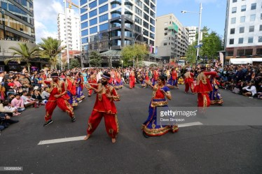 AUCKLAND, NEW ZEALAND - OCTOBER 21: The Garba Gurus entertain the crowds during the 17th Auckland Diwali Festival on October 21, 2018 in Auckland, New Zealand. Auckland Diwali Festival is one of Auckland's biggest and most colourful cultural festival, celebrating traditional and contemporary Indian culture. (Photo by Dave Simpson/WireImage)