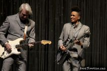 AUCKLAND, NEW ZEALAND - NOVEMBER 17: David Byrne and Angie Swan performs on stage as part of his American Utopia World Tour at Spark Arena on November 17, 2018 in Auckland, New Zealand. (Photo by Dave Simpson/WireImage)