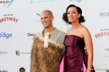 AUCKLAND, NEW ZEALAND - NOVEMBER 15: Stan Walker and Kanoa Lloyd arrive for the 2018 Vodafone New Zealand Music Awards at Spark Arena on November 15, 2018 in Auckland, New Zealand. (Photo by Dave Simpson/WireImage)